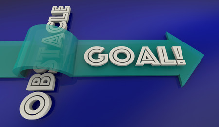 accomplish: Overcome Obstacle Reach Goal Arrow Over Word 3d Illustration Stock Photo