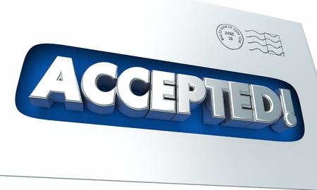 notifying: Accepted Envelope Letter Notification Acceptance 3d Illustration