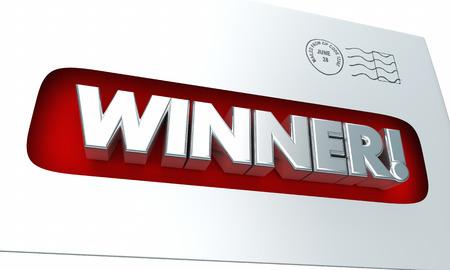 Winner Envelope Letter Mail Contest 3d Illustration