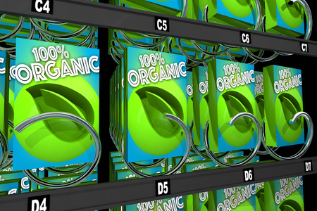 vending: Organic Products Boxes Food Snack Vending Machine 3d Illustration