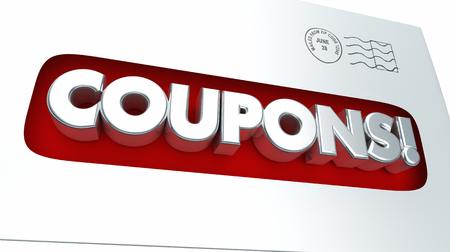 notify: Coupons Mailer Envelope Save Money 3d Illustration