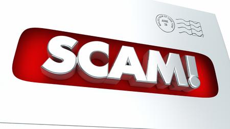 notifying: Scam Mail Fraud Envelope Illegal Scheme 3d Illustration