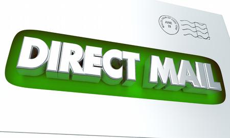 Sobre del correo directo Publicidad Marketing Campaña 3d ilustración Foto de archivo