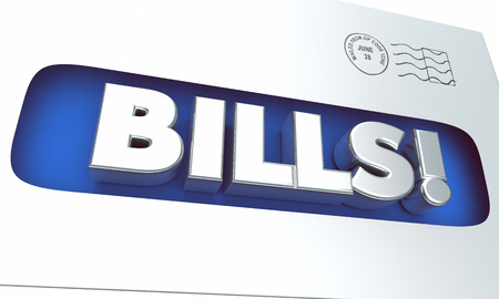 notifying: Bills Money Invoice Payment Due Envelope Word 3d Illustration Stock Photo