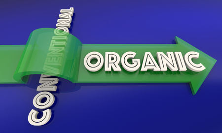 Organic Vs Conventional Food Ingredients Natural Eating 3d Illustration