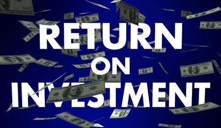 profiting: Return on Investment ROI Money Earnings Income 3d Illustration