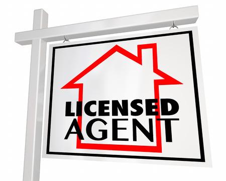 relocate: Licensed Real Estate Agent Home House Seller Sign 3d Illustration