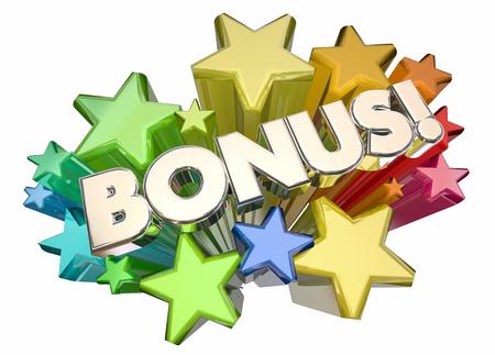 zvýšil: Bonus Přidaná hodnota Extra Stars Word 3d ilustrace