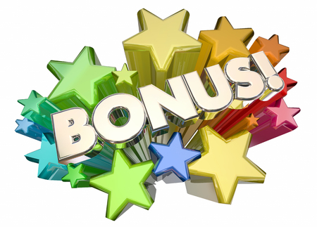 Bonus Added Value Extra Stars Word 3d Illustration Stock Photo