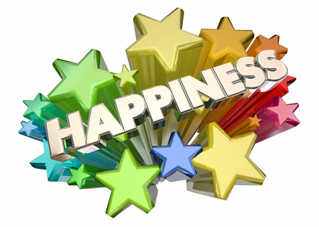 Happiness Joy Emotion Glad Happy Word Stars 3d Illustration