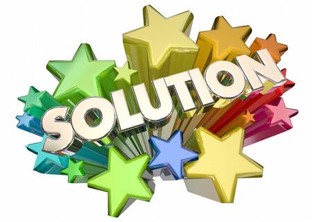 comunicar: Solución Respuesta Problema solucionado Estrellas Palabra 3d ilustración Foto de archivo