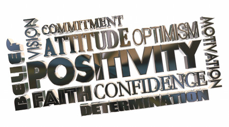 Positivity Attitude Good Optimism Word Collage 3d Illustration