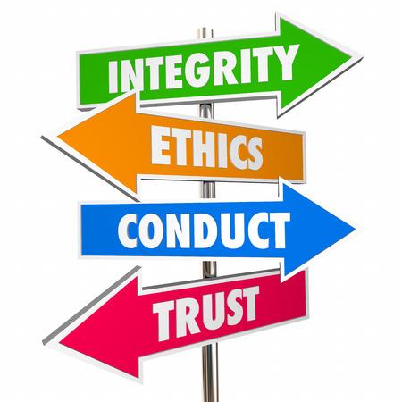 Integrity Arrow Signs Honesty Conduct Trust 3d Illustration Banque d'images