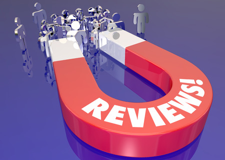 reviewer: Reviews Good Feedback Ratings Magnet Lure New Customers 3d Illustration