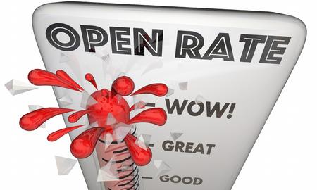 Otwórz Pomiar Oceń E-Mail Marketing Response 3d Ilustracja