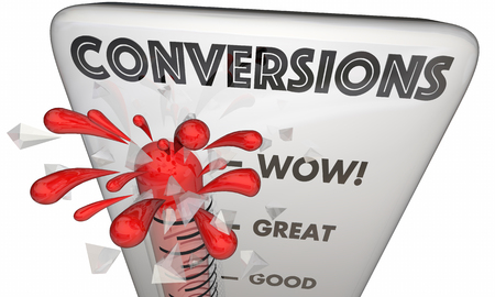 Conversions Sold Customers Closed Deals Thermometer 3d Illustration Reklamní fotografie