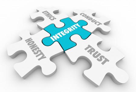 Integriteit Principes Trust ethische gedragscode Eerlijkheid 3d Illustratie Stockfoto