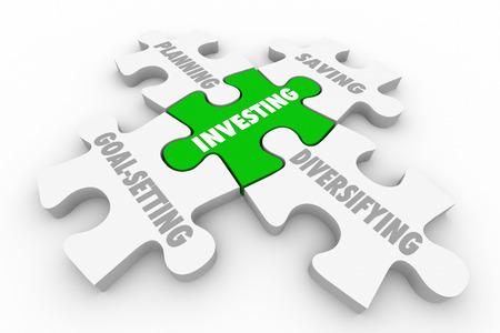 Investieren Aktien Anleihen wachsen Reichtum Puzzle-Strategie 3D-Illustration