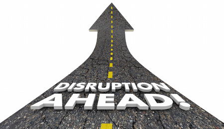 disruption: Disruption Ahead Change Major Shift Innovation Road 3d Illustration Stock Photo