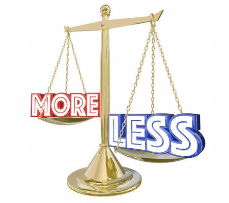 zvýšil: Méně je více Měřítko Balance Words 3d ilustrace