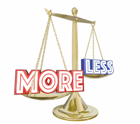 More is Better Deal Than Less Words Balance Scale 3d Illustration
