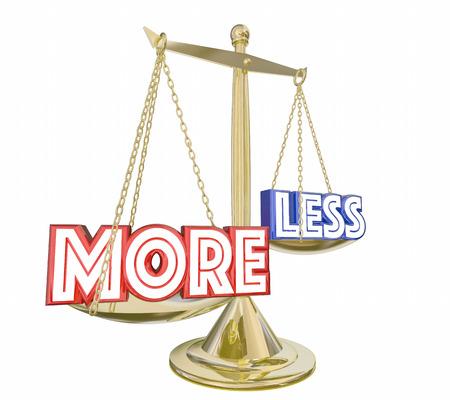 Více je lepší řešení než méně slov Balance Scale 3d ilustrační