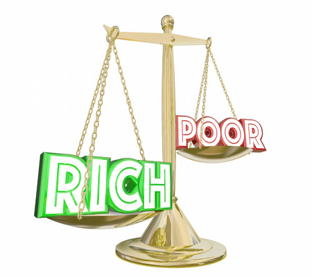 Rich Outweighs Poor Haves or Not Scale Balance Class Warfare 3d Illustration Stock Photo