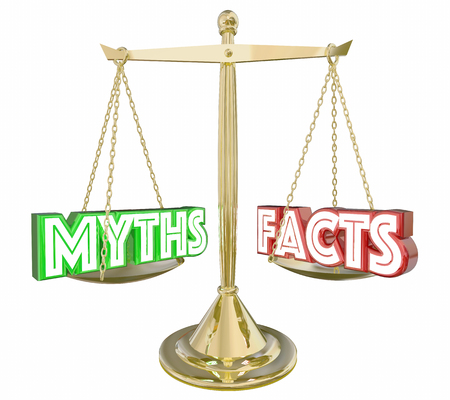 in fact: Myths Vs Facts Real Honest Information Scale Words 3d Illustration Stock Photo