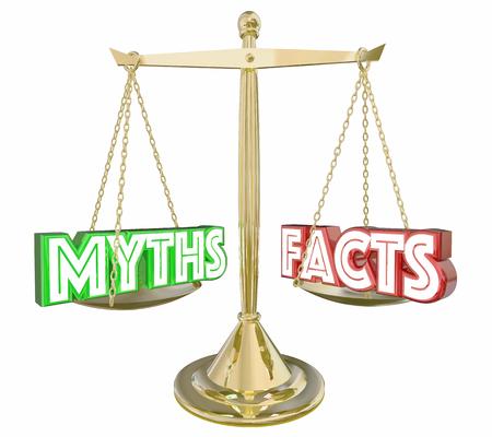 Myths Vs Facts Real Honnête Information Échelle Mots 3d Illustration Banque d'images - 69834255