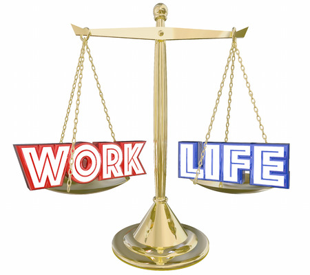 to compromise: Work Life Balance Take Time Off Words Scale 3d Illustration