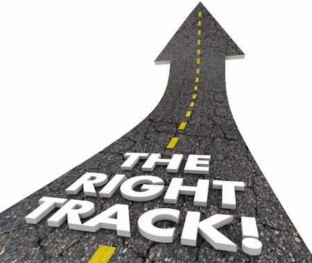 The Right Track Road Street Slova Nejlepší cesta 3d ilustrace