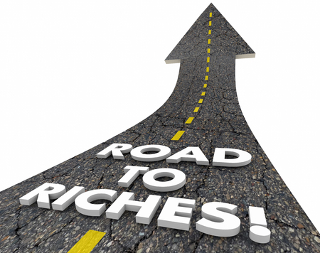 ingresos: Camino a la Riqueza Riqueza Palabras Ingreso Monetario Street Fácil 3d ilustración