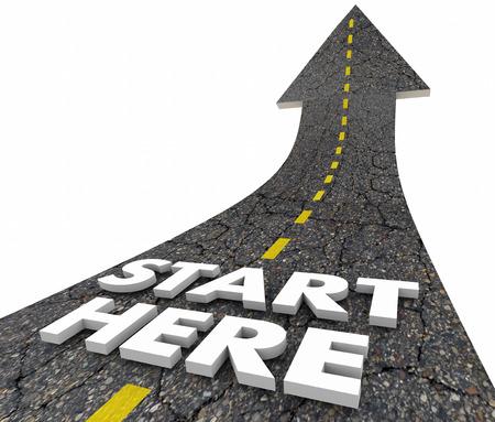 zvýšil: Start Here Začátek Linka Road Words 3d ilustrační Reklamní fotografie
