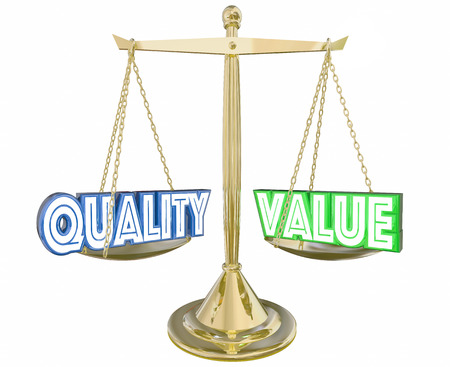 best quality: Quality Vs Value Best Product Scale Balance 3d Illustration