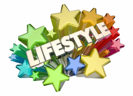 better living: Lifestyle Stars Comfort Luxury Living Word 3d Illustration