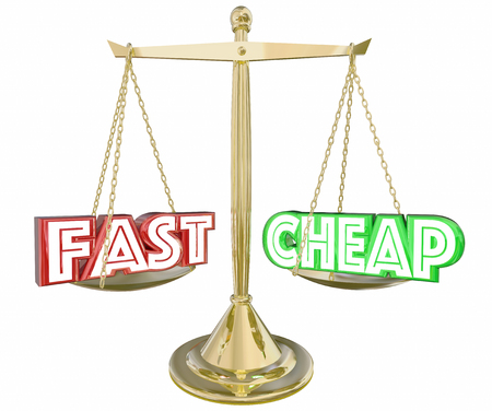 low cost: Fast Vs Cheap Words Scale Balance Best Service 3d Illustration Stock Photo