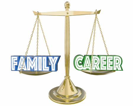 spending: Family Vs Career Work Life Balance Job Scale 3d Illustration Stock Photo