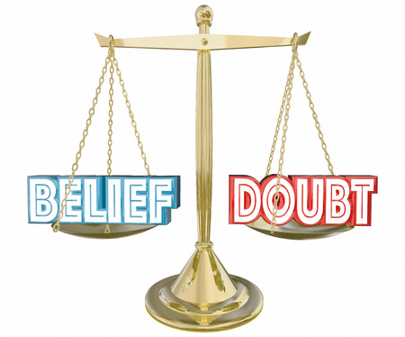 Belief Vs Doubt Balance Scale Faith Confidence 3d Illustration