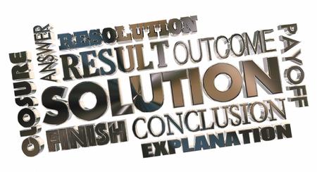 Oplossing Antwoord Probleem Oplossen Word Collage 3D Illustratie