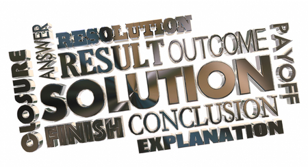 Solution Answer Problem Solved Word Collage 3d Illustration Stock fotó