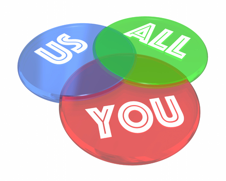 overlapped: You Us All Common Interest Shared Benefits Venn Diagram 3d Illustration