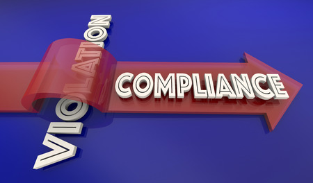Compliance Vs Violation Arrow Over Word Comply Follow Rules 3d Illustration Stock Photo