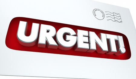 notify: Urgent Message Envelope Letter Communication 3d Illustration Stock Photo