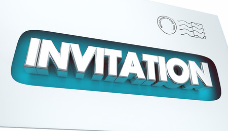 notifying: Invitation Envelope Special Message Event Announcement 3d Illustration Stock Photo