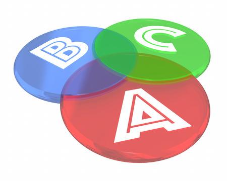 contrast: A B C Steps Levels Venn Diagram Circles 3d Illustration Stock Photo