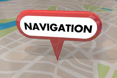 navigating: Navigation Travel Transportation Pin Map Word 3d Illustration Stock Photo