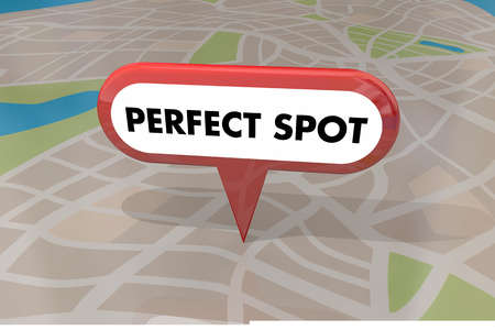 Perfect Spot Best Location Map Pin Words 3d Illustration 스톡 콘텐츠