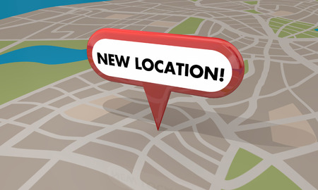 New Location Store Business Grand Opening Pin Map 3d Illustration Foto de archivo