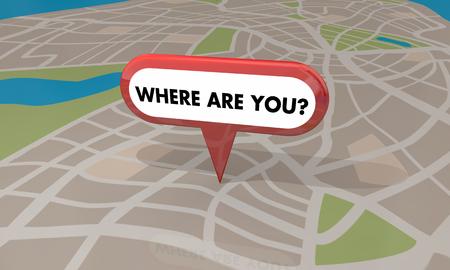 Where Are You Lost Found Map Pin Locaiton 3d Illustration