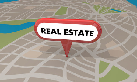 real estate house: Real Estate Pin Map House Home for Sale 3d Illustration Stock Photo